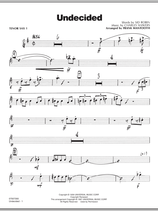 Frank Mantooth Undecided - Tenor Sax 1 sheet music preview music notes and score for Jazz Ensemble including 3 page(s)