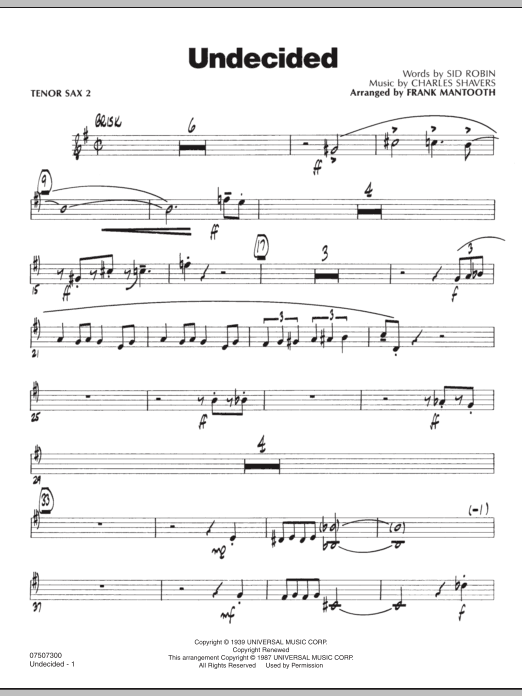 Frank Mantooth Undecided - Tenor Sax 2 sheet music preview music notes and score for Jazz Ensemble including 3 page(s)