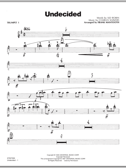 Frank Mantooth Undecided - Trumpet 1 sheet music preview music notes and score for Jazz Ensemble including 3 page(s)