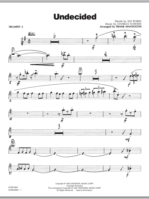 Frank Mantooth Undecided - Trumpet 2 sheet music preview music notes and score for Jazz Ensemble including 3 page(s)