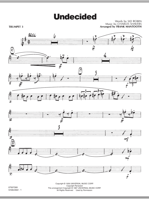 Frank Mantooth Undecided - Trumpet 3 sheet music preview music notes and score for Jazz Ensemble including 3 page(s)