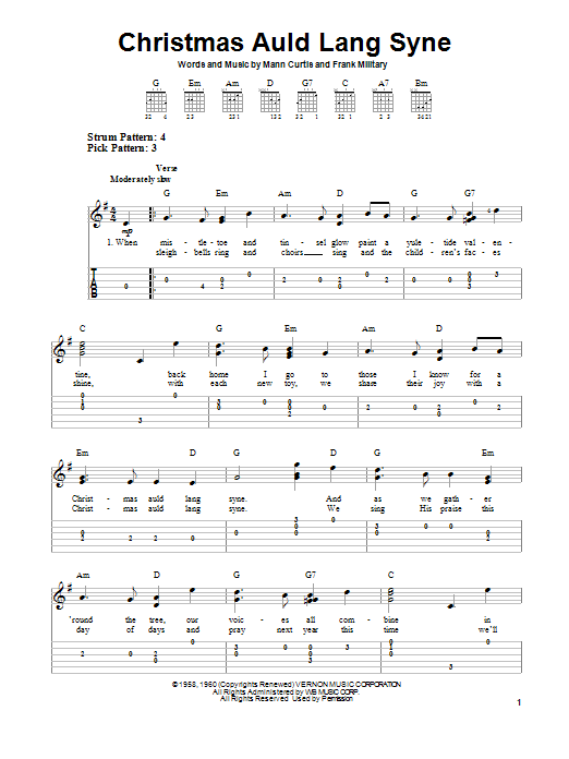 Frank Military Christmas Auld Lang Syne sheet music preview music notes and score for Piano, Vocal & Guitar (Right-Hand Melody) including 2 page(s)