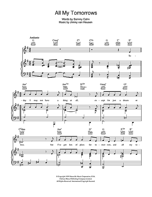 Frank Sinatra All My Tomorrows sheet music preview music notes and score for E-Z Play Today including 2 page(s)