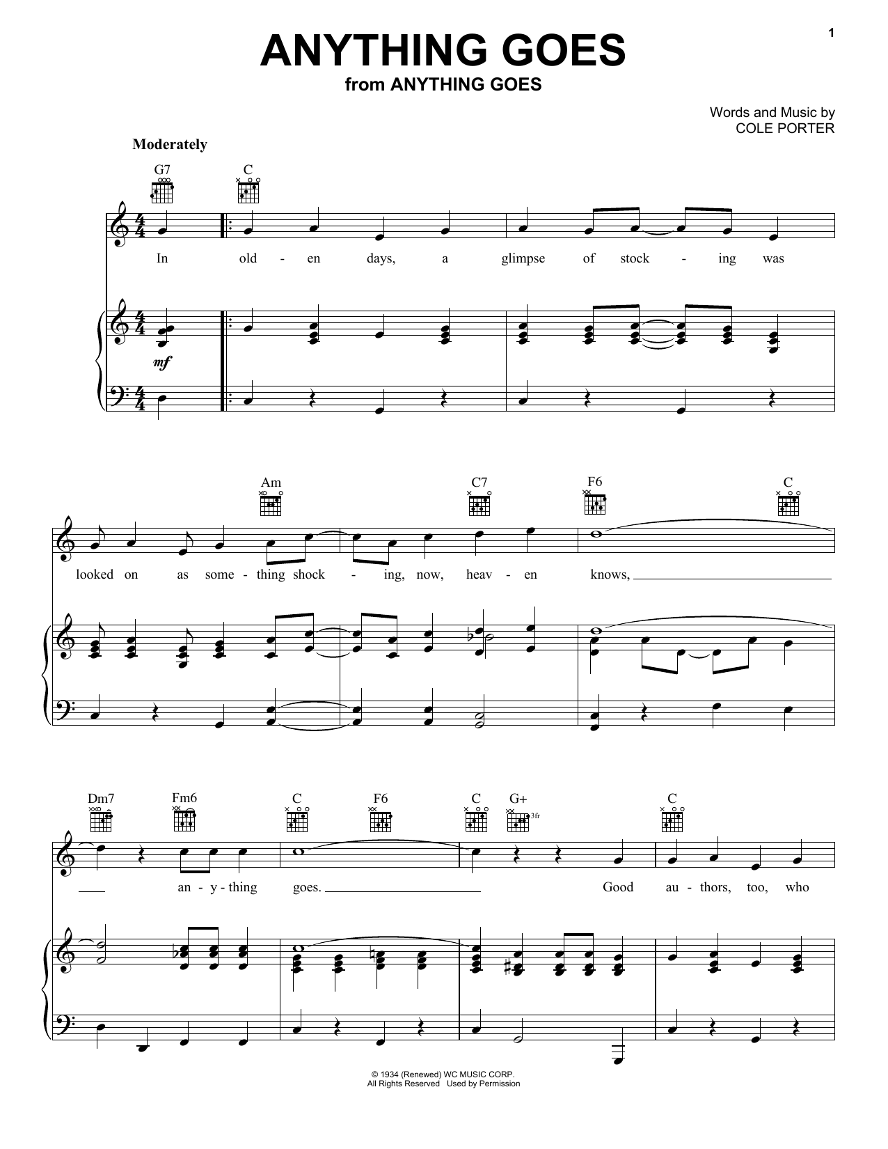 Frank Sinatra Anything Goes sheet music preview music notes and score for Piano, Vocal & Guitar (Right-Hand Melody) including 3 page(s)