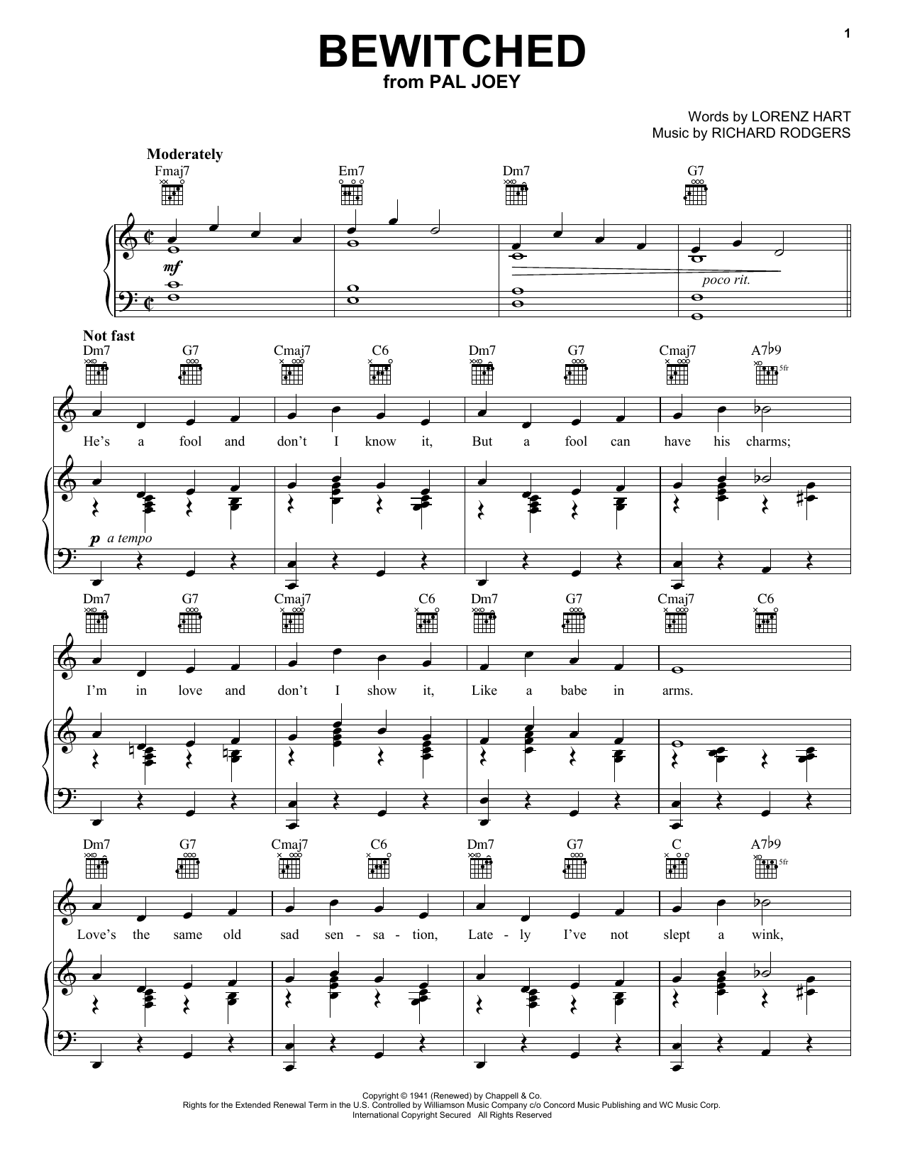 Frank Sinatra Bewitched sheet music preview music notes and score for Piano, Vocal & Guitar (Right-Hand Melody) including 4 page(s)