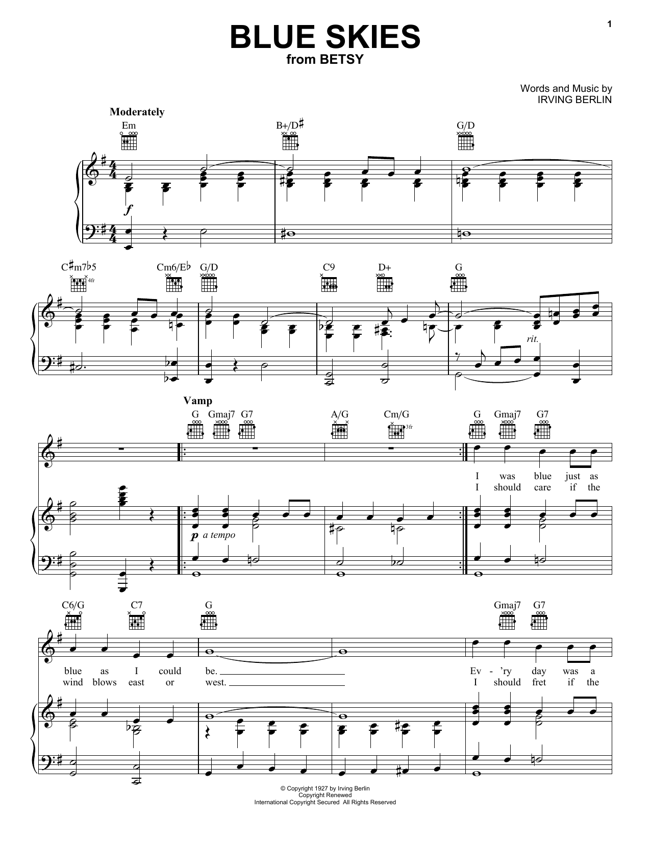 Frank Sinatra Blue Skies sheet music preview music notes and score for Piano, Vocal & Guitar (Right-Hand Melody) including 4 page(s)