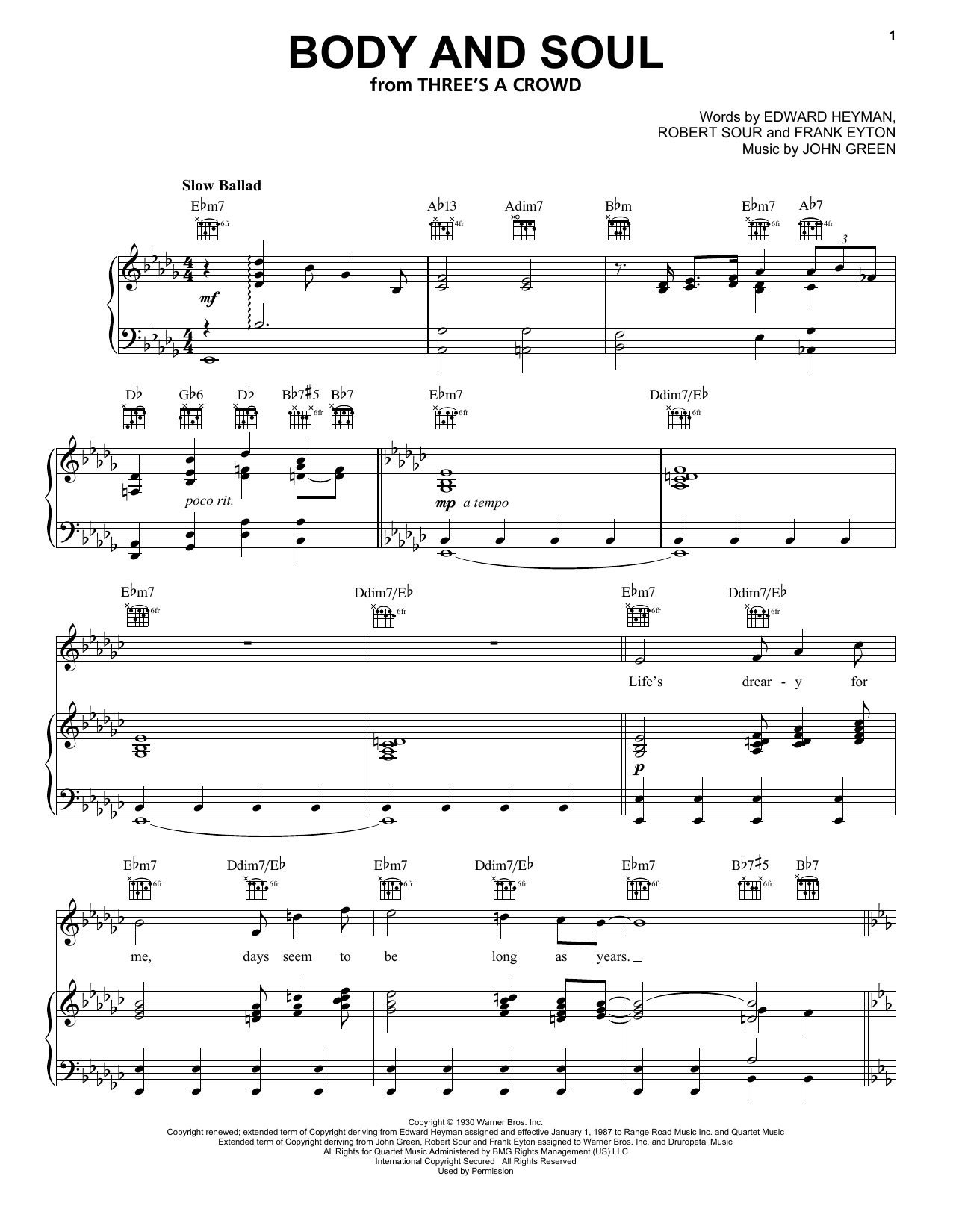 Frank Sinatra Body And Soul sheet music notes and chords