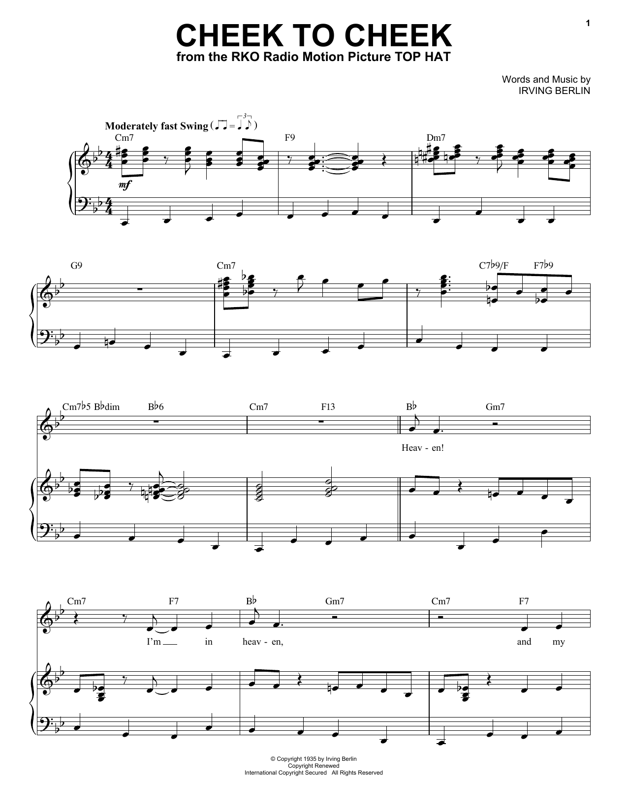 Frank Sinatra Cheek To Cheek sheet music preview music notes and score for E-Z Play Today including 2 page(s)
