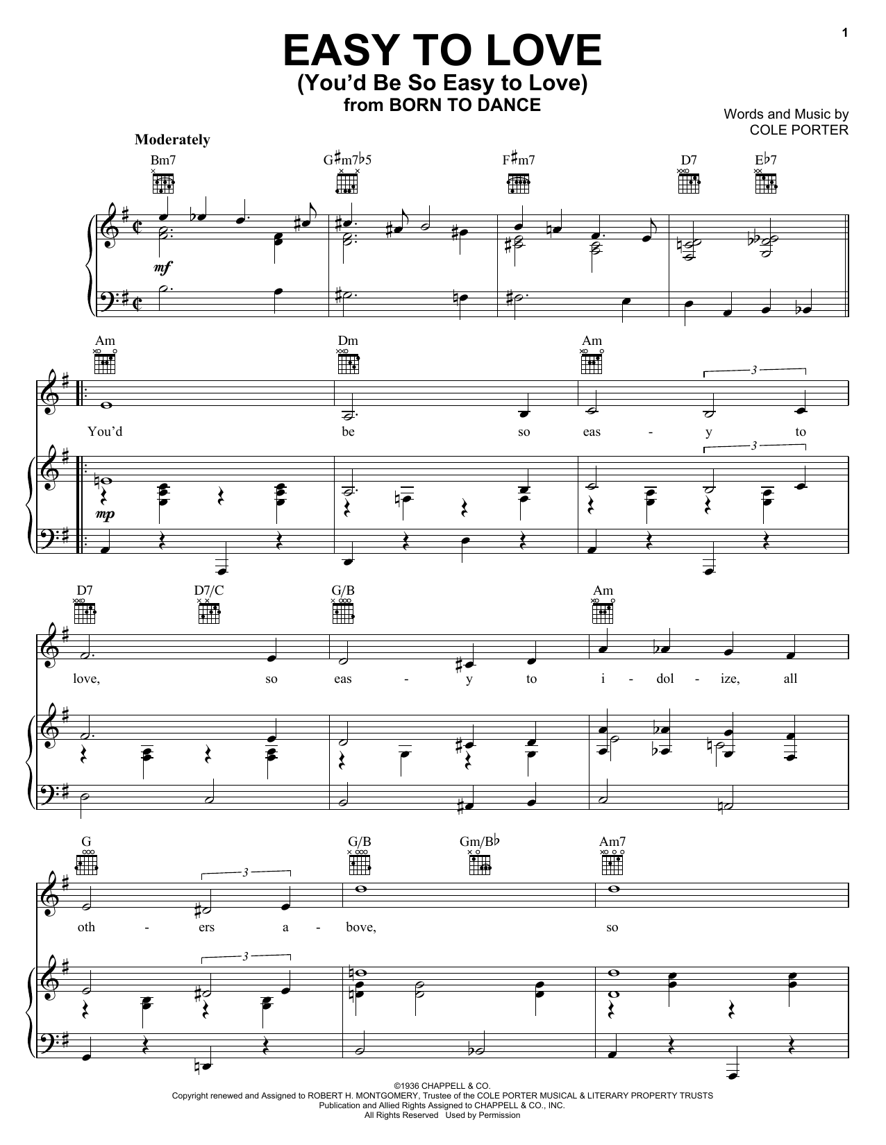 Frank Sinatra Easy To Love (You'd Be So Easy To Love) sheet music preview music notes and score for Piano, Vocal & Guitar (Right-Hand Melody) including 3 page(s)