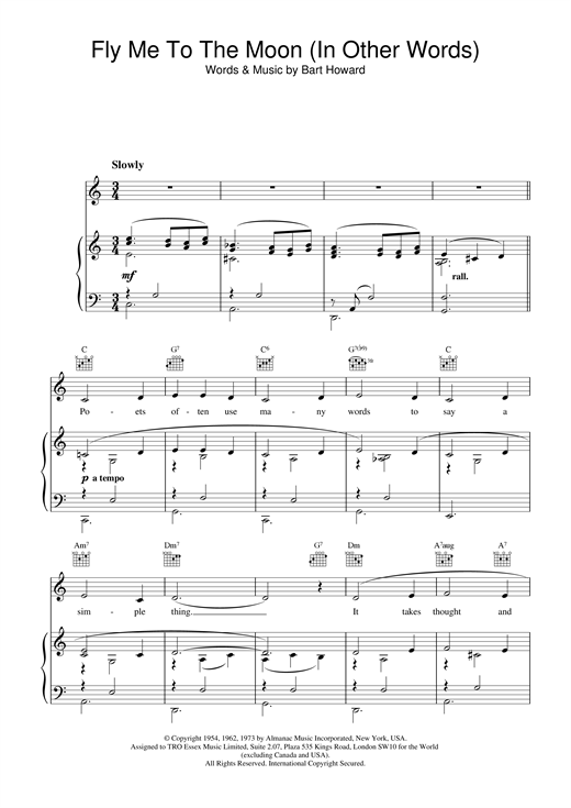 Frank Sinatra Fly Me To The Moon (In Other Words) sheet music notes and chords