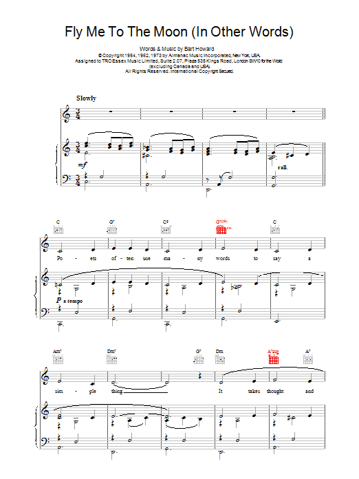 Frank Sinatra Fly Me To The Moon (In Other Words) sheet music preview music notes and score for Piano, Vocal & Guitar (Right-Hand Melody) including 3 page(s)