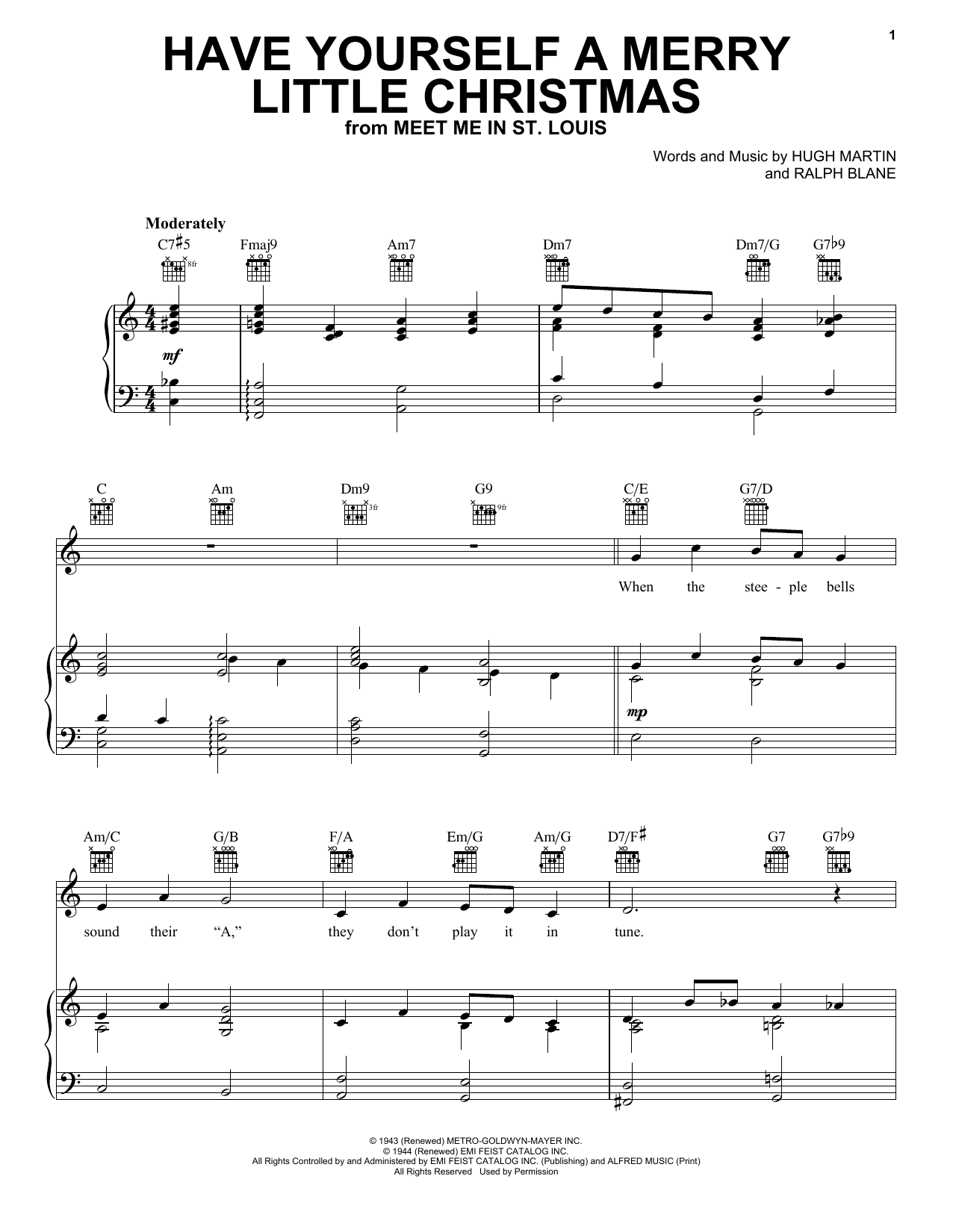 Frank Sinatra Have Yourself A Merry Little Christmas sheet music preview music notes and score for Piano, Vocal & Guitar (Right-Hand Melody) including 6 page(s)
