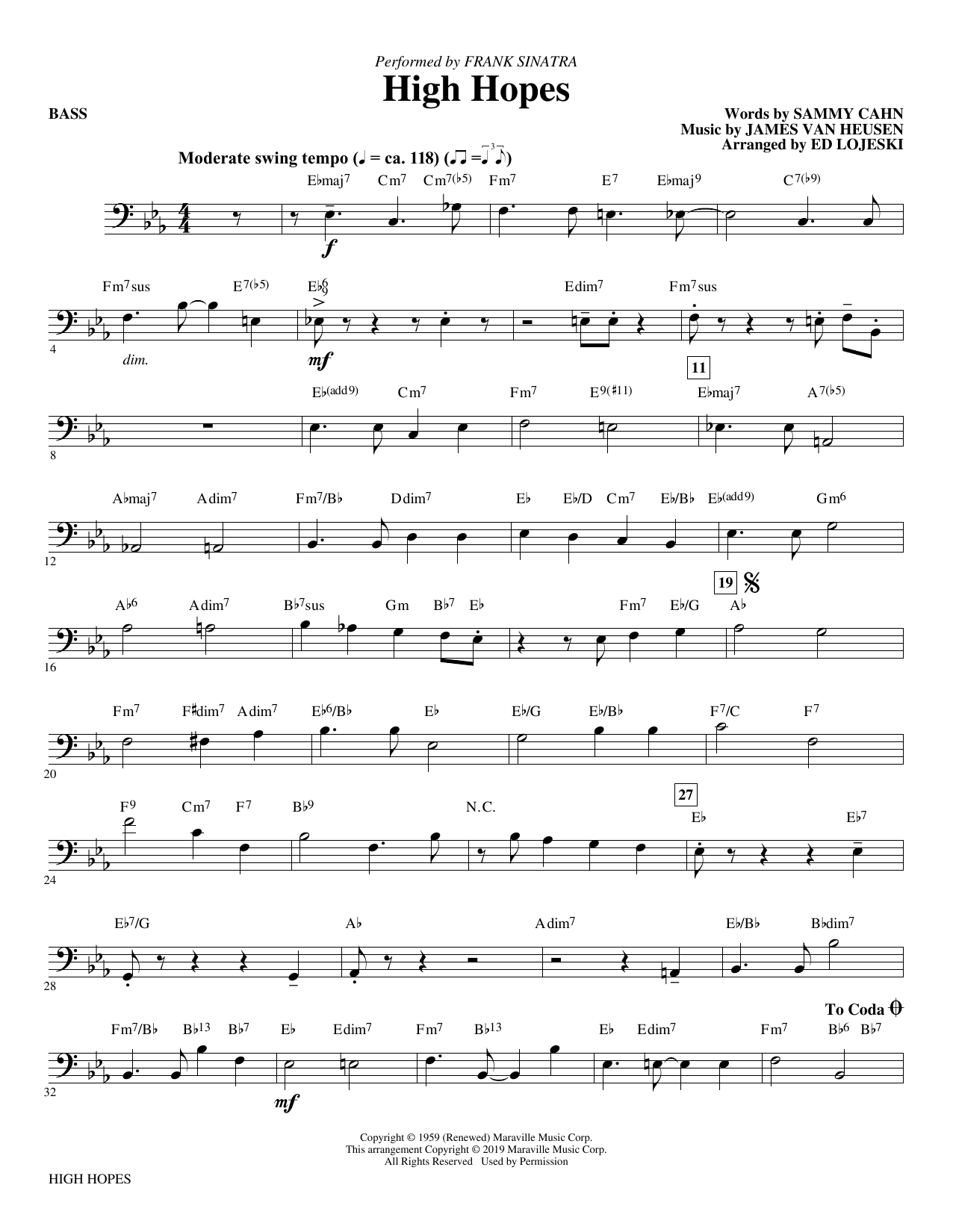 Frank Sinatra High Hopes (arr. Ed Lojeski) - Bass sheet music preview music notes and score for Choir Instrumental Pak including 2 page(s)