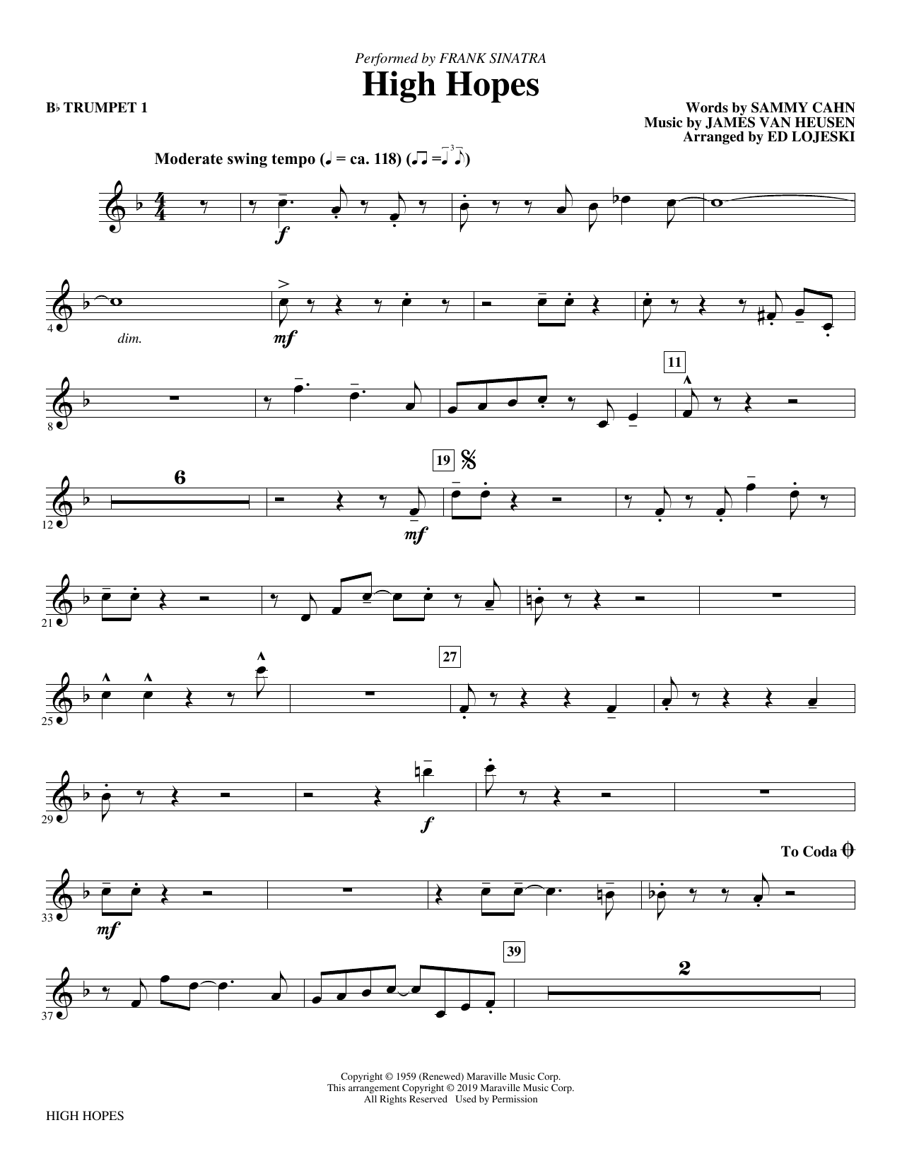 Frank Sinatra High Hopes (arr. Ed Lojeski) - Bb Trumpet 1 sheet music preview music notes and score for Choir Instrumental Pak including 2 page(s)