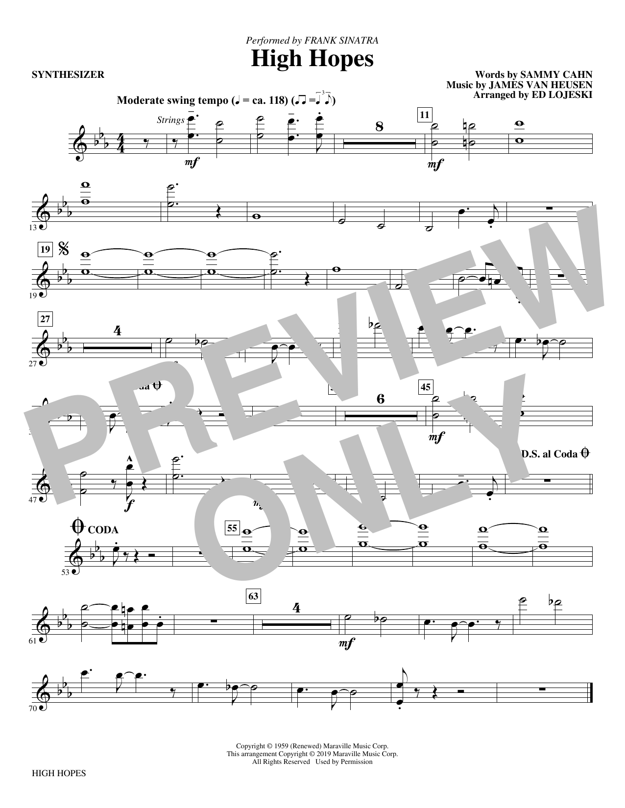 Frank Sinatra High Hopes (arr. Ed Lojeski) - Synthesizer sheet music preview music notes and score for Choir Instrumental Pak including 1 page(s)