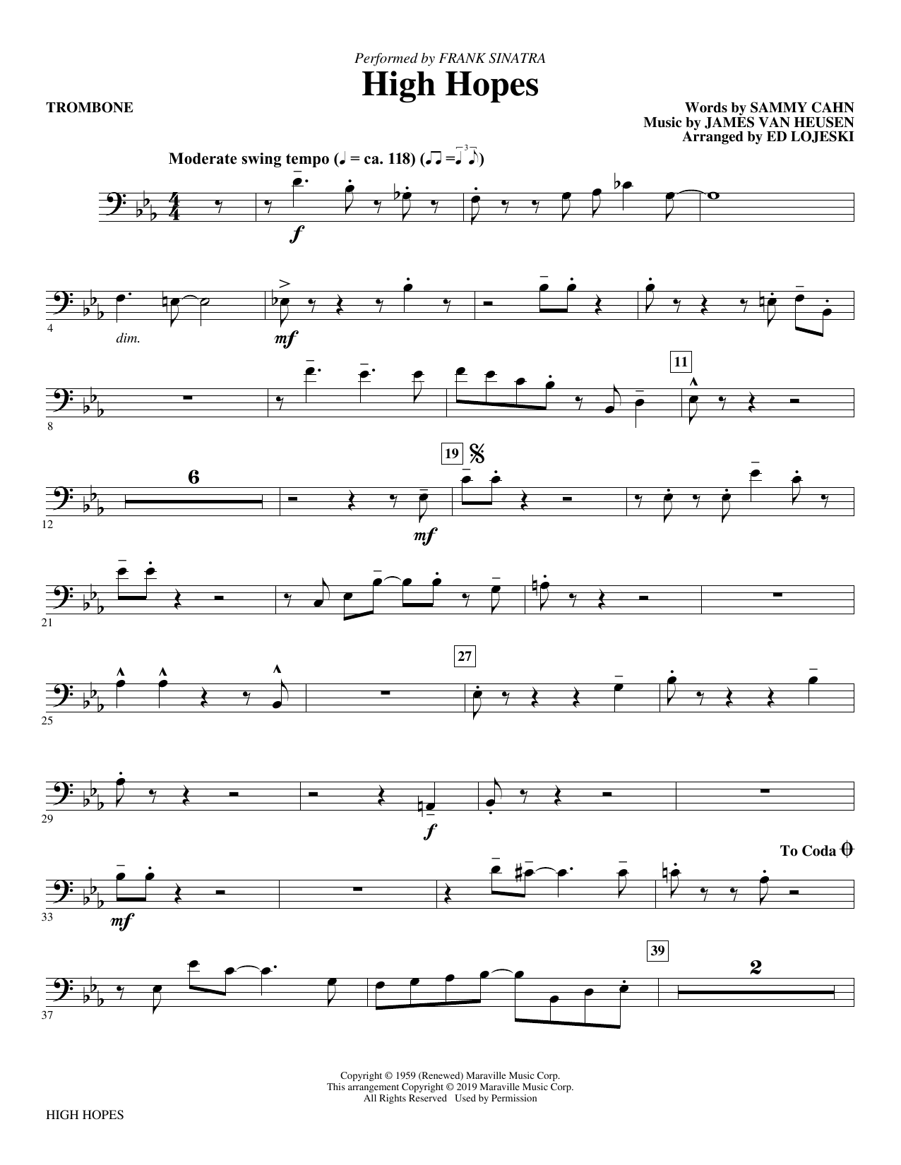 Frank Sinatra High Hopes (arr. Ed Lojeski) - Trombone sheet music preview music notes and score for Choir Instrumental Pak including 2 page(s)