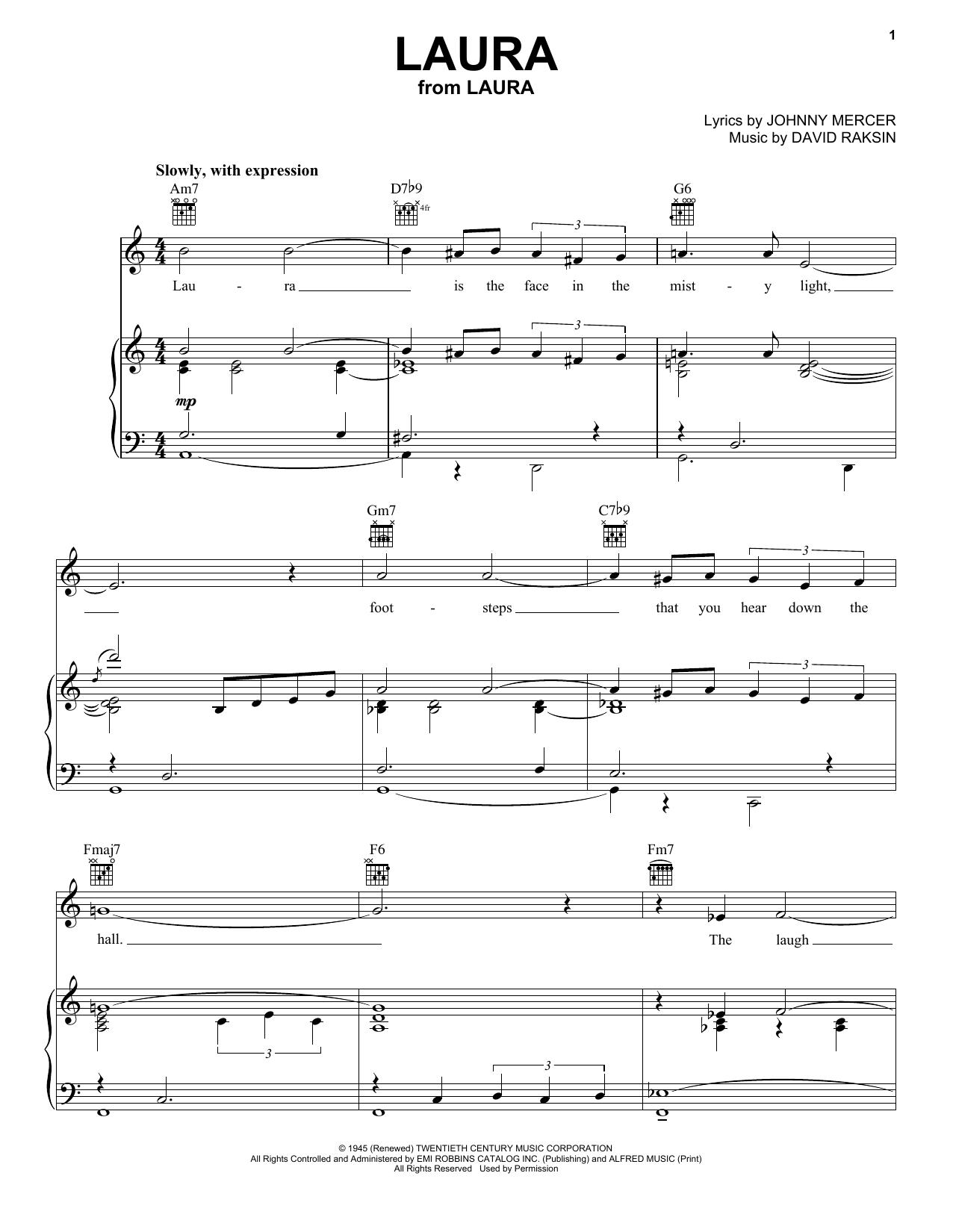 Frank Sinatra Laura sheet music notes and chords