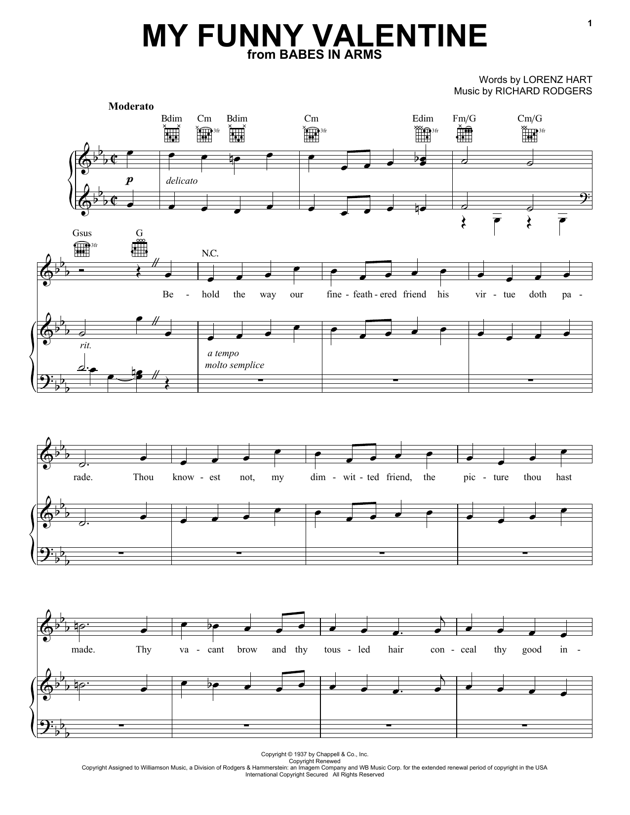 Frank Sinatra My Funny Valentine sheet music preview music notes and score for Piano, Vocal & Guitar (Right-Hand Melody) including 5 page(s)