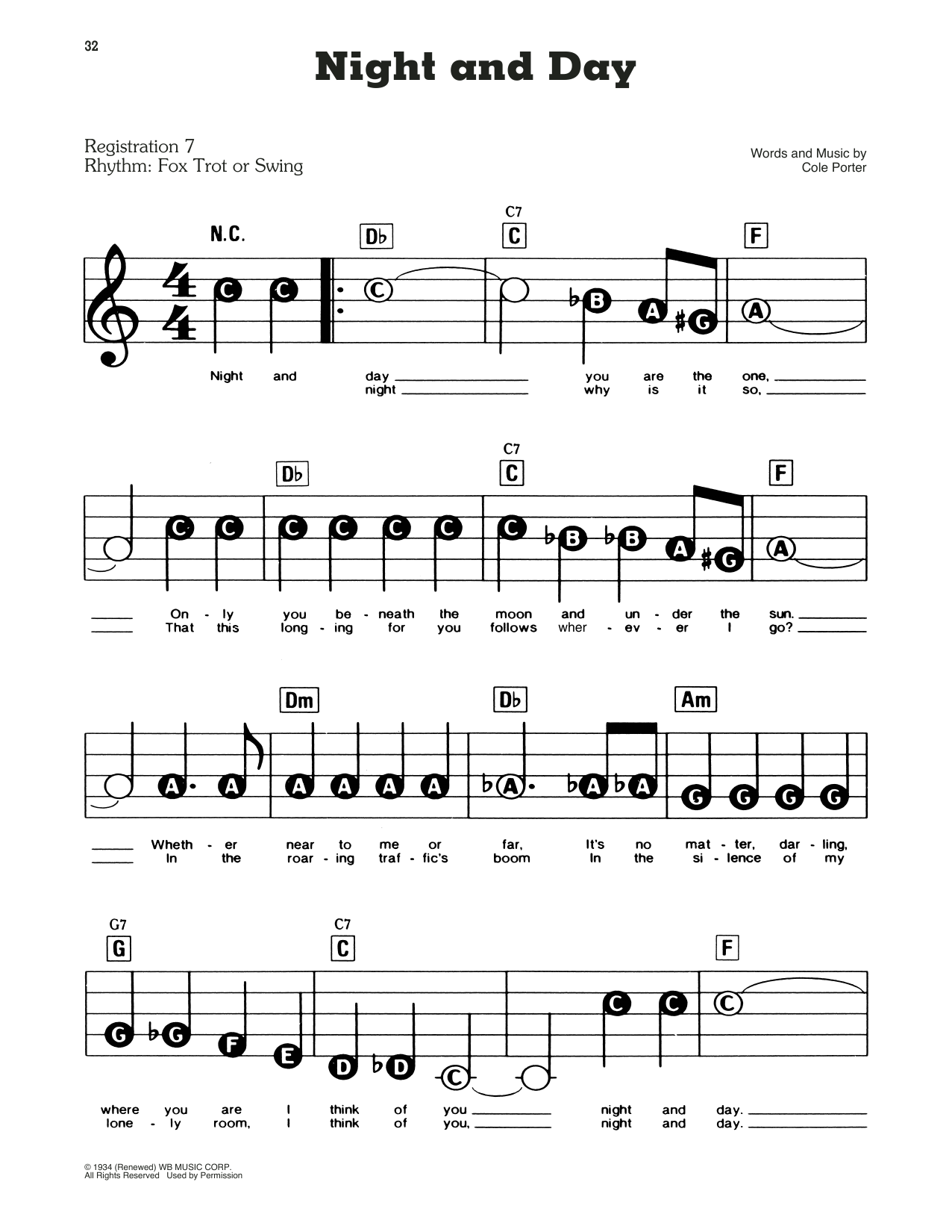 Frank Sinatra Night And Day sheet music preview music notes and score for E-Z Play Today including 2 page(s)