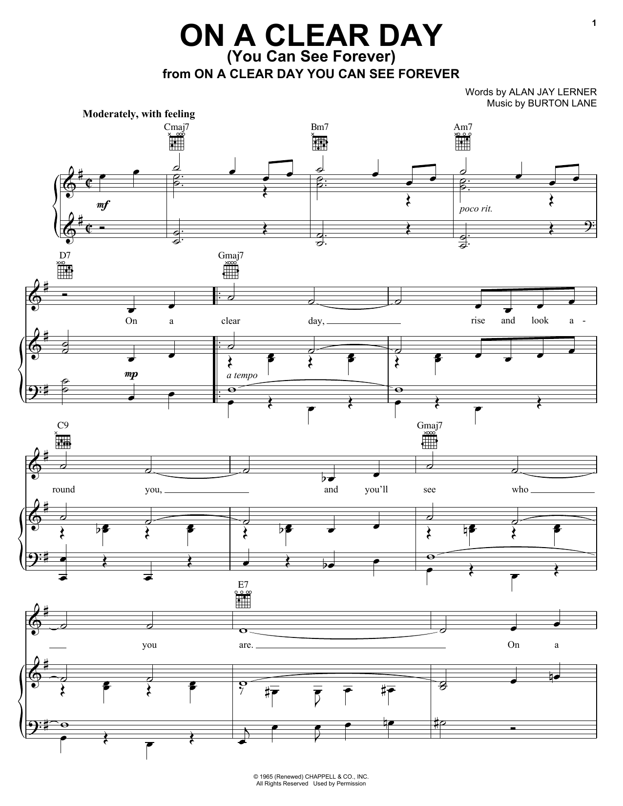 Frank Sinatra On A Clear Day (You Can See Forever) sheet music notes and chords