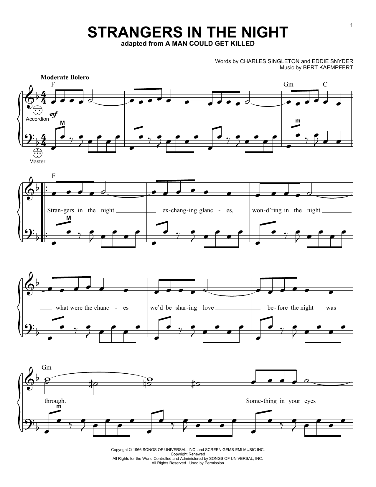 Frank Sinatra Strangers In The Night sheet music preview music notes and score for Beginner Piano including 3 page(s)