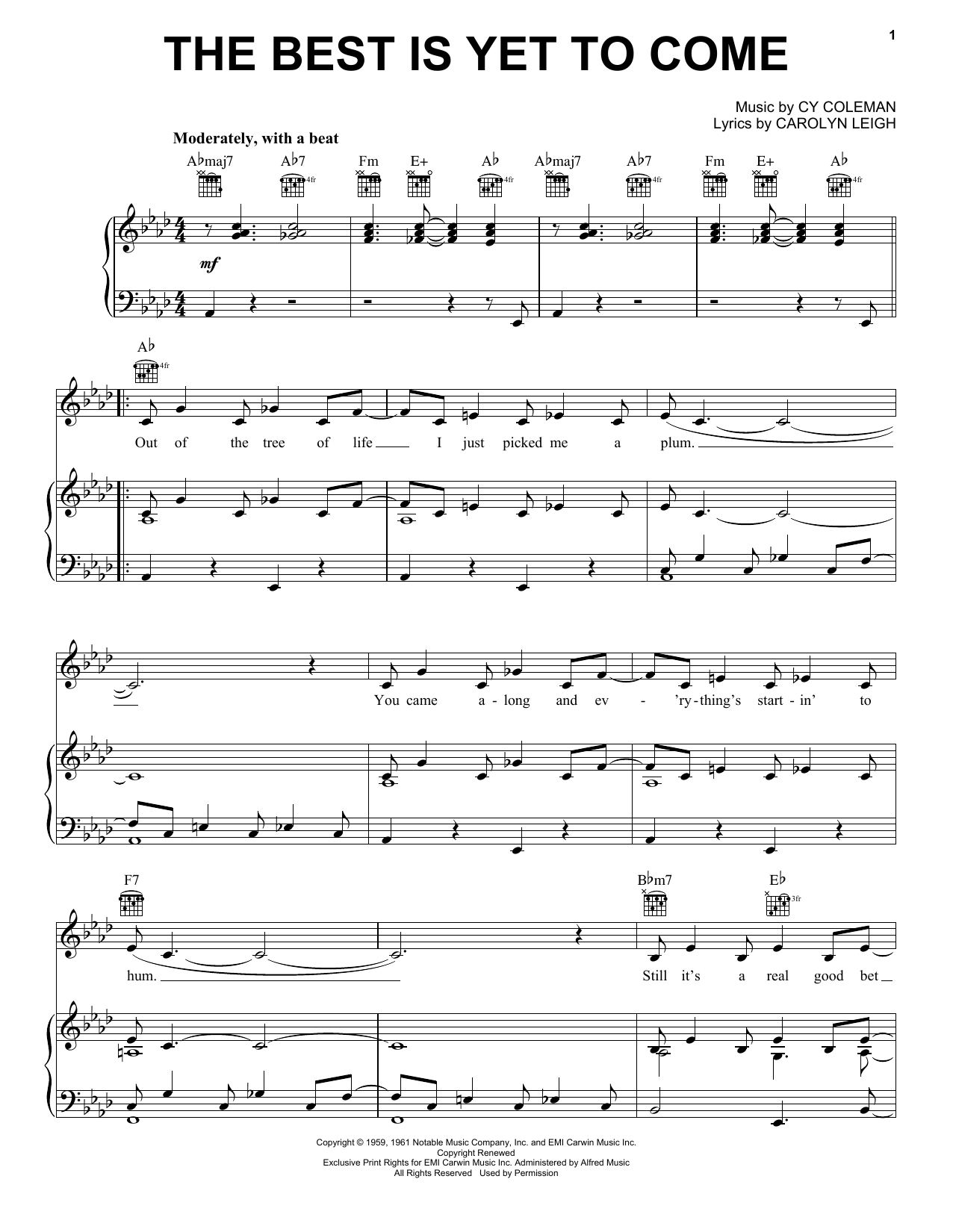 Frank Sinatra The Best Is Yet To Come sheet music preview music notes and score for E-Z Play Today including 2 page(s)