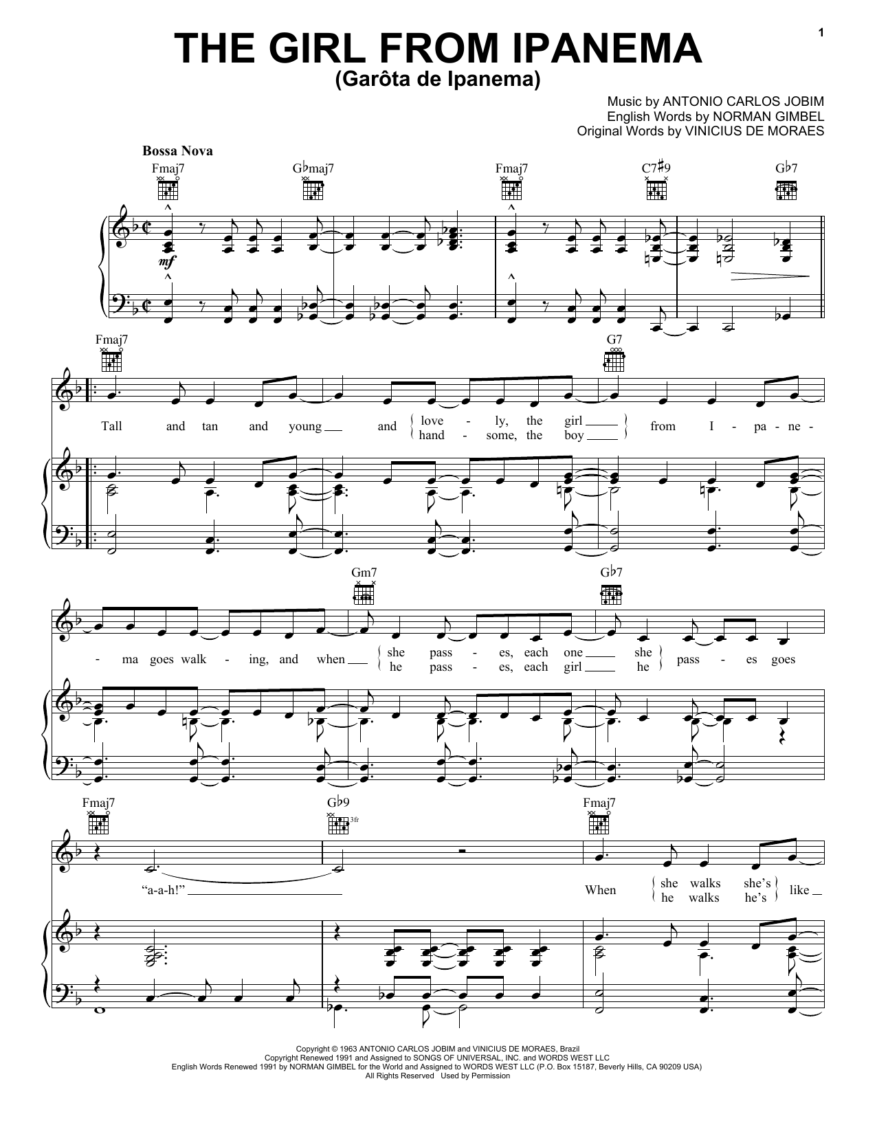 Frank Sinatra The Girl From Ipanema (Garota De Ipanema) sheet music preview music notes and score for Piano, Vocal & Guitar (Right-Hand Melody) including 4 page(s)