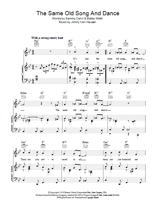 Frank Sinatra The Same Old Song And Dance sheet music preview music notes and score for Piano, Vocal & Guitar (Right-Hand Melody) including 5 page(s)