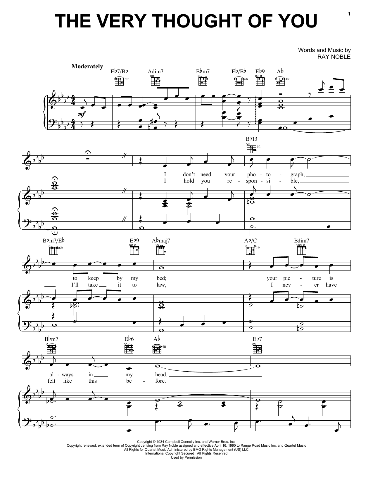 Frank Sinatra The Very Thought Of You sheet music notes and chords