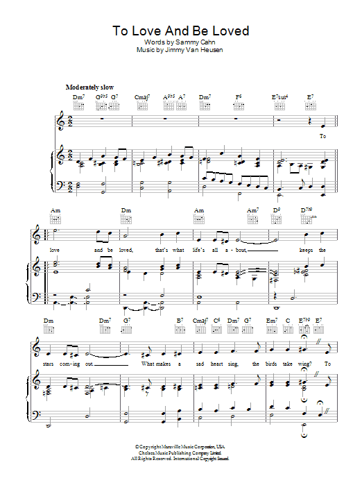 Frank Sinatra To Love And Be Loved sheet music preview music notes and score for Piano, Vocal & Guitar (Right-Hand Melody) including 3 page(s)