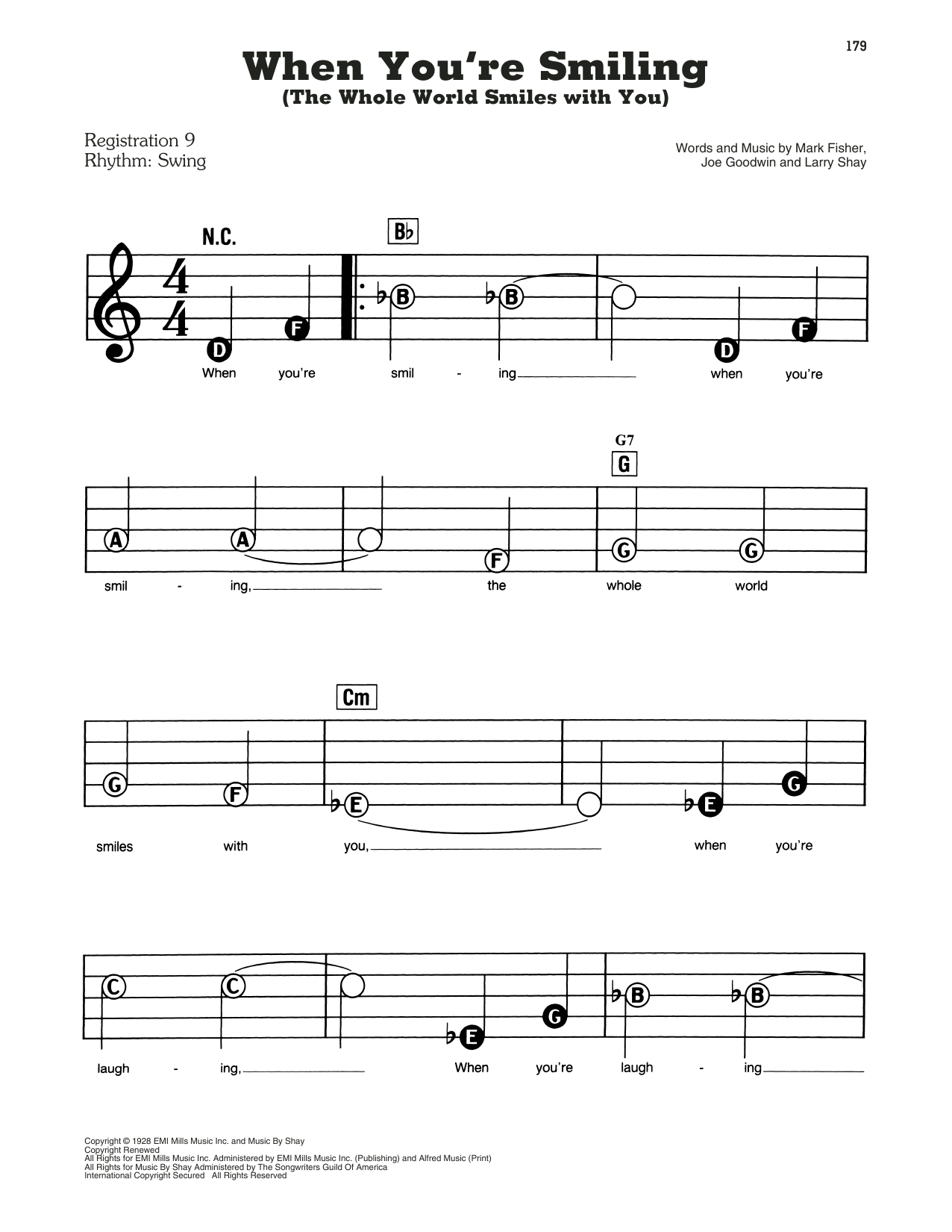 Frank Sinatra When You're Smiling (The Whole World Smiles With You) sheet music preview music notes and score for E-Z Play Today including 3 page(s)