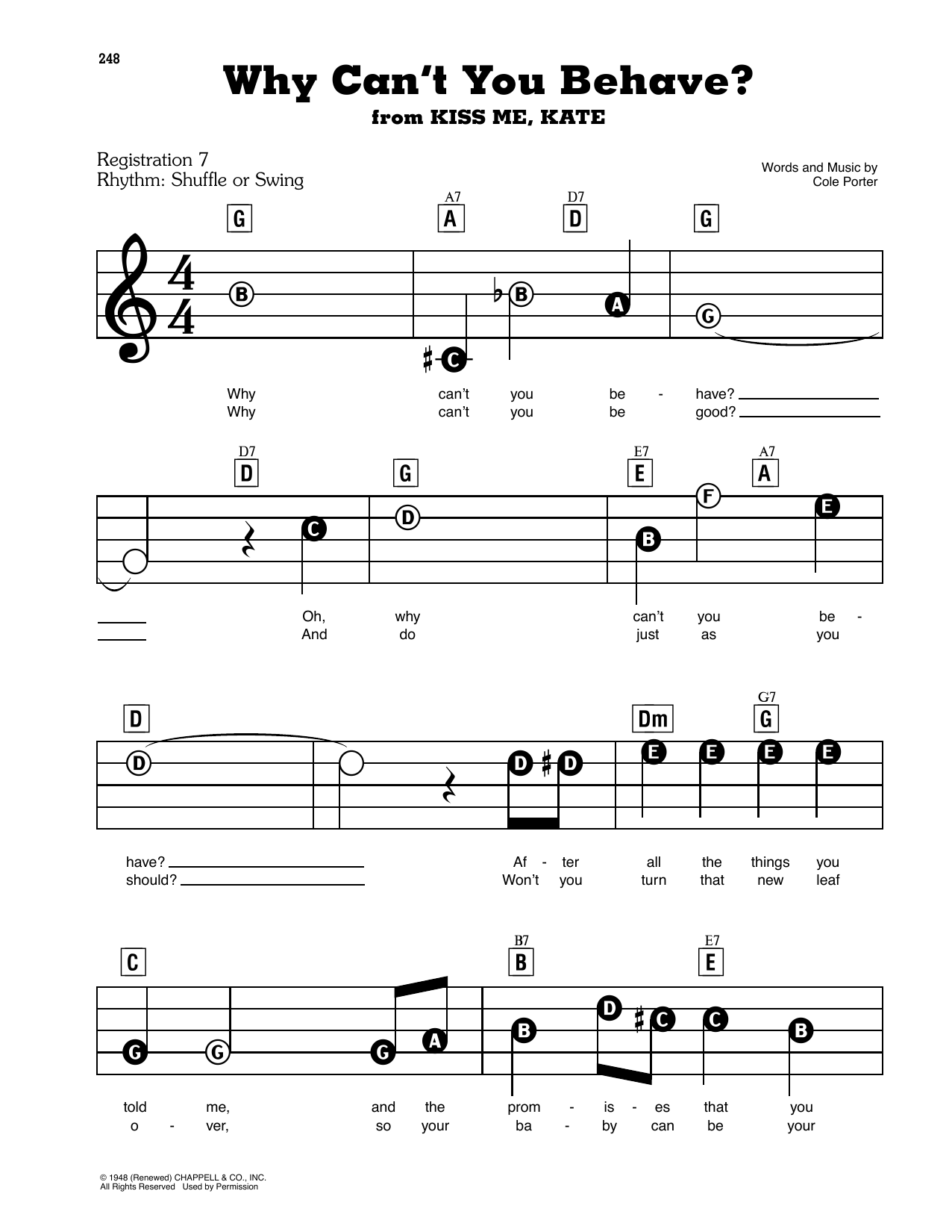 Frank Sinatra Why Can't You Behave? sheet music preview music notes and score for E-Z Play Today including 3 page(s)