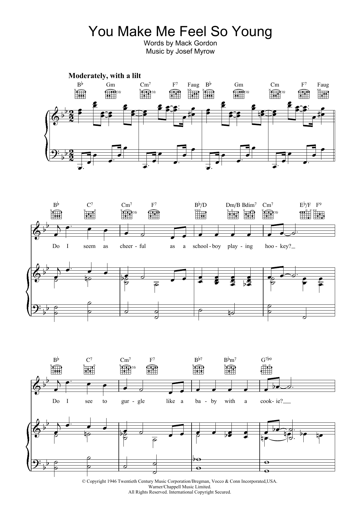 Frank Sinatra You Make Me Feel So Young sheet music preview music notes and score for Piano, Vocal & Guitar (Right-Hand Melody) including 5 page(s)