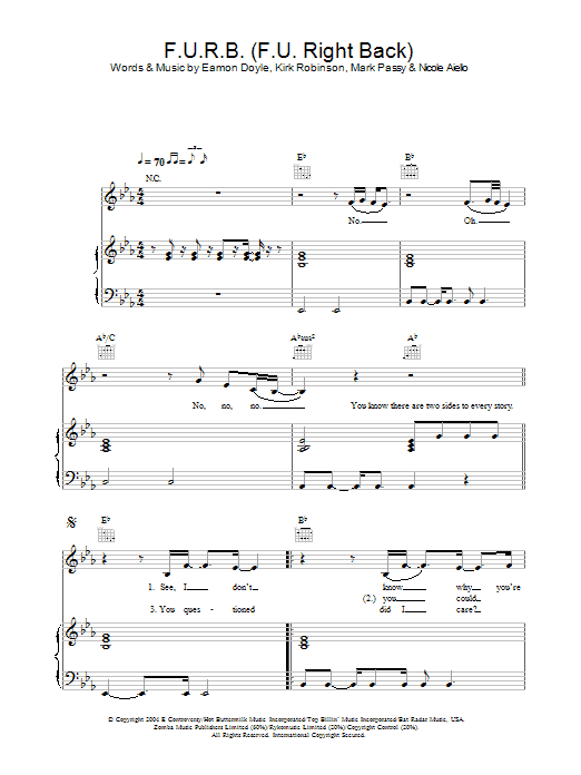 Frankee F.U.R.B. (F.U. Right Back) sheet music preview music notes and score for Piano, Vocal & Guitar including 5 page(s)