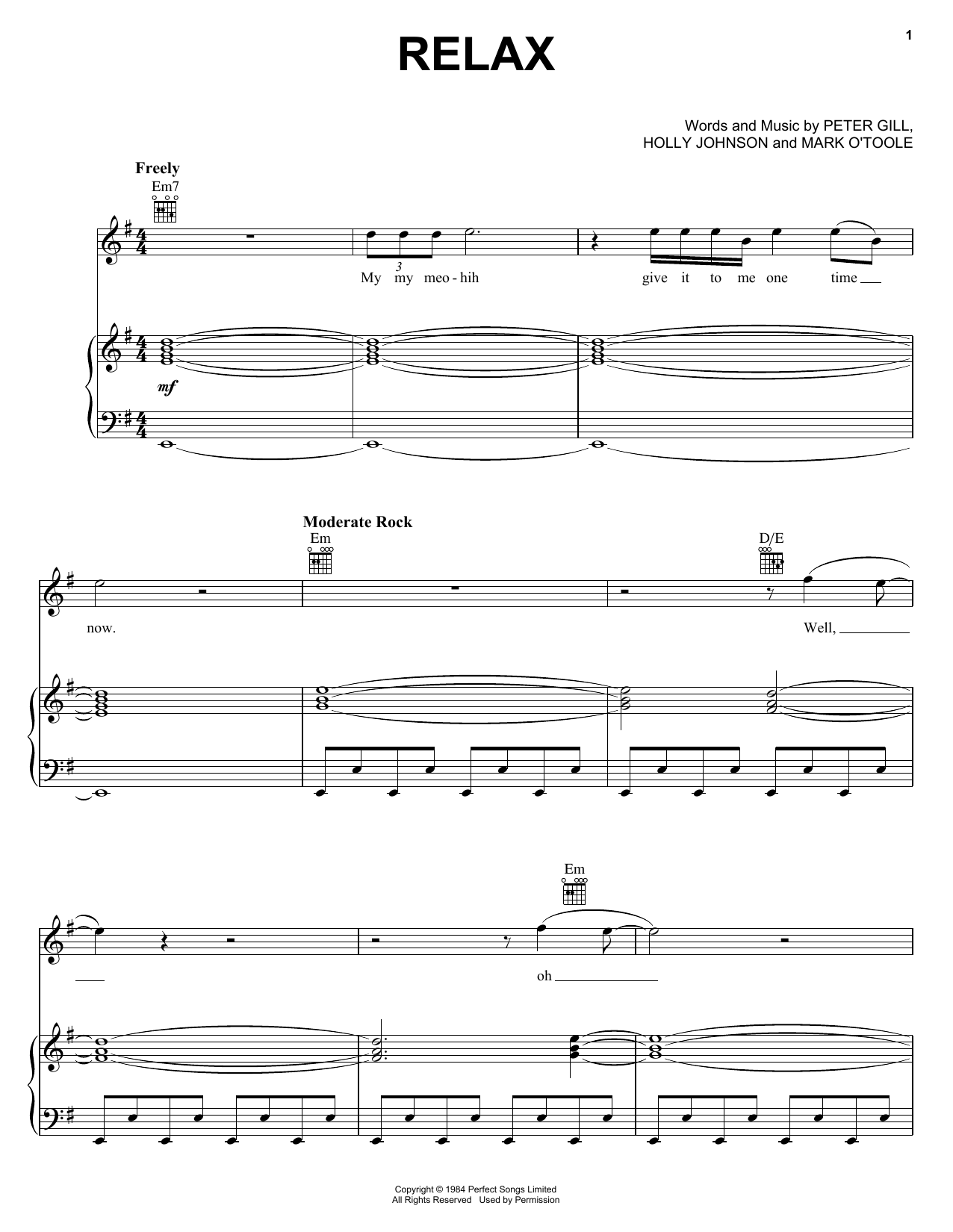 Frankie Goes To Hollywood Relax sheet music notes and chords