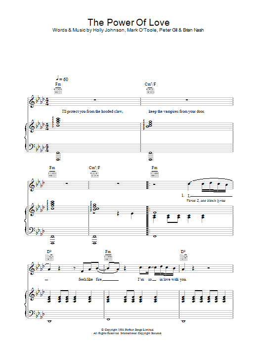 Frankie Goes To Hollywood The Power Of Love sheet music preview music notes and score for Keyboard including 3 page(s)