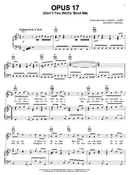 Frankie Valli & The Four Seasons Opus 17 (Don't Worry 'Bout Me) sheet music preview music notes and score for Piano, Vocal & Guitar (Right-Hand Melody) including 4 page(s)