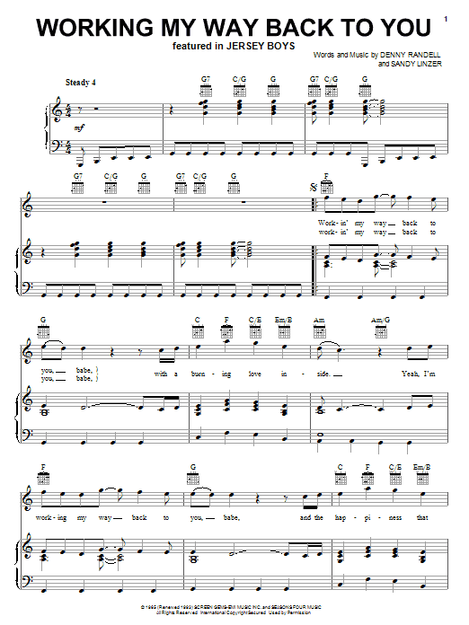 Frankie Valli & The Four Seasons Working My Way Back To You sheet music preview music notes and score for Piano, Vocal & Guitar (Right-Hand Melody) including 3 page(s)