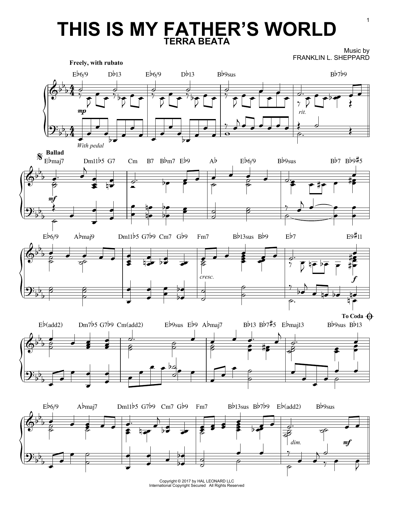 Download Franklin L. Sheppard 'This Is My Father's World' Digital Sheet Music Notes & Chords and start playing in minutes