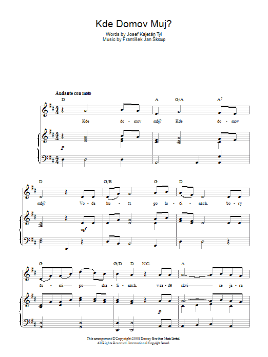 Frantisek Jan Skroup Kde Domov Muj? (Czech Republic National Anthem) sheet music preview music notes and score for Piano, Vocal & Guitar (Right-Hand Melody) including 2 page(s)