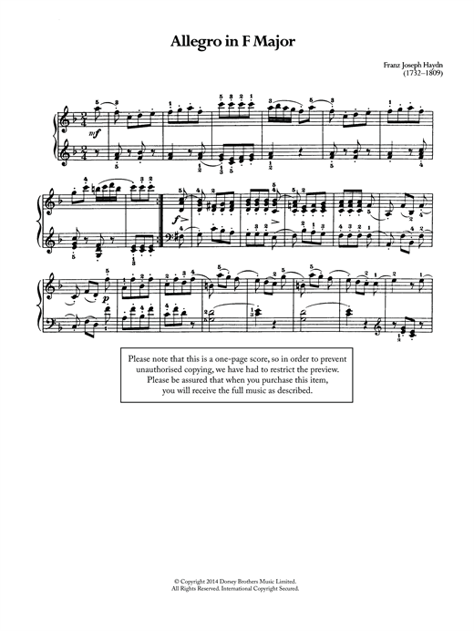 Download Franz Joseph Haydn 'Allegro' Digital Sheet Music Notes & Chords and start playing in minutes