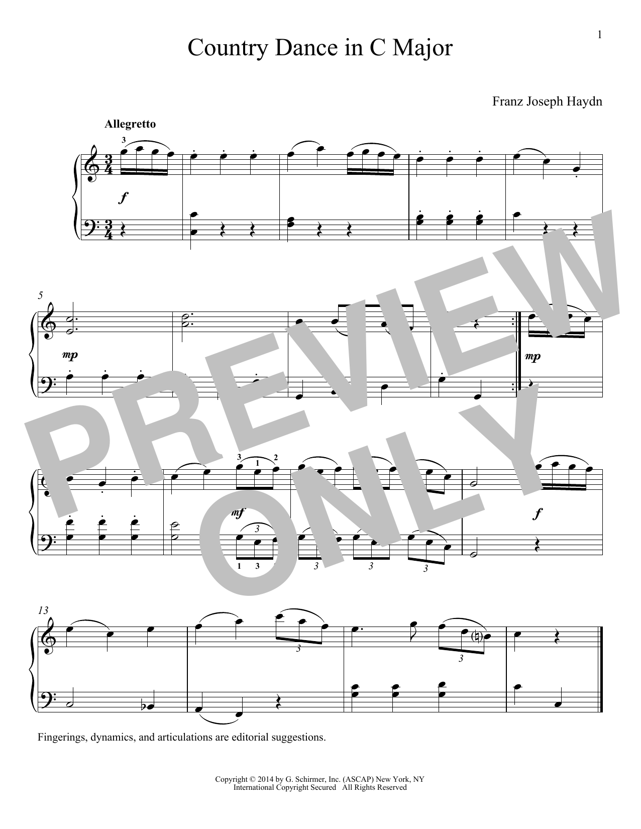 Download Franz Joseph Haydn 'Country Dance In C Major' Digital Sheet Music Notes & Chords and start playing in minutes