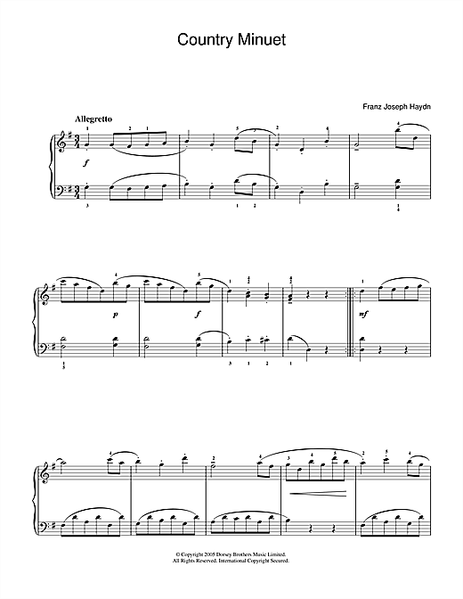 Download Franz Joseph Haydn 'Country Minuet' Digital Sheet Music Notes & Chords and start playing in minutes