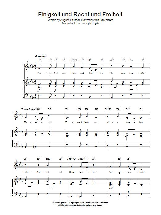 Franz Joseph Haydn Einigkeit Und Recht Und Freiheit (German National Anthem) sheet music preview music notes and score for Piano, Vocal & Guitar (Right-Hand Melody) including 2 page(s)