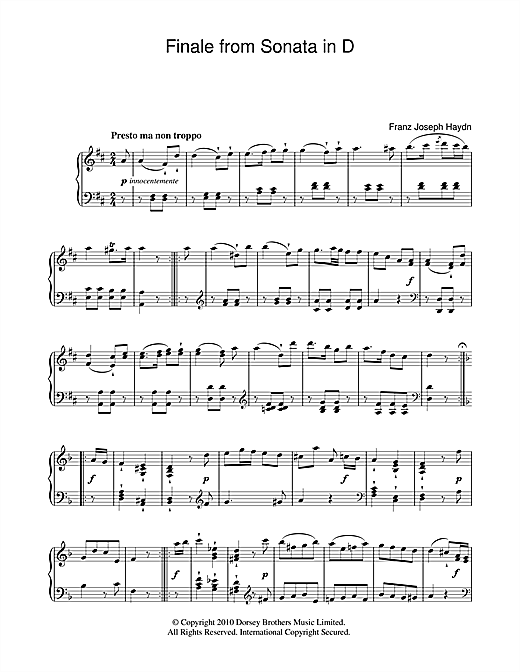 Download Franz Joseph Haydn 'Finale From Sonata In D' Digital Sheet Music Notes & Chords and start playing in minutes