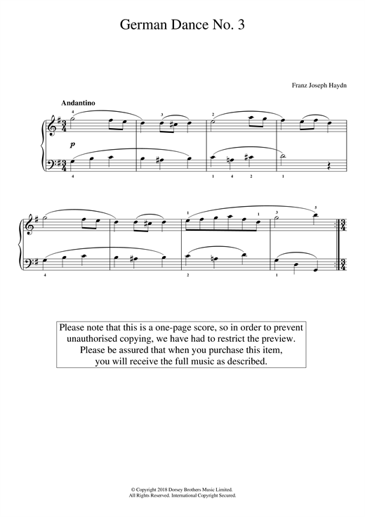 Download Franz Joseph Haydn 'German Dance No. 3' Digital Sheet Music Notes & Chords and start playing in minutes