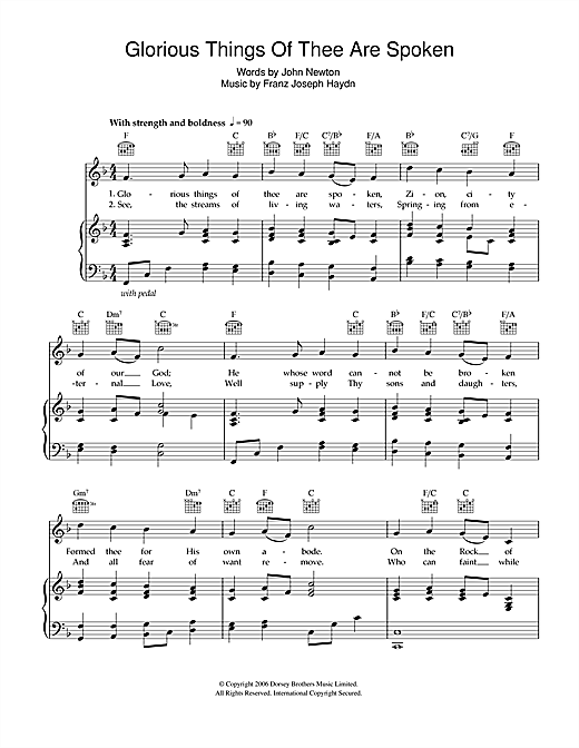 Download Franz Joseph Haydn 'Glorious Things Of Thee Are Spoken' Digital Sheet Music Notes & Chords and start playing in minutes