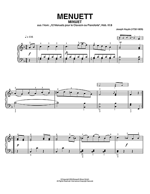 Download Franz Joseph Haydn 'Minuet, From 12 Menuets Pour Le Clavecin Ou Pianoforte' Digital Sheet Music Notes & Chords and start playing in minutes