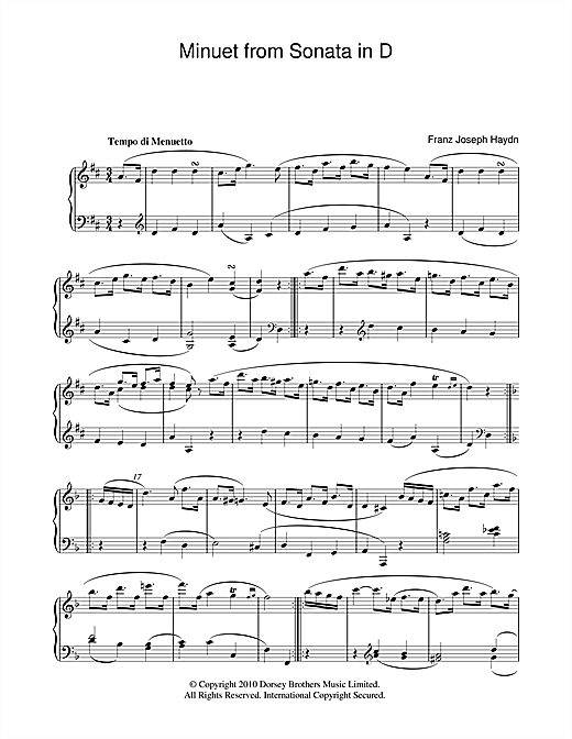 Download Franz Joseph Haydn 'Minuet From Sonata In D' Digital Sheet Music Notes & Chords and start playing in minutes