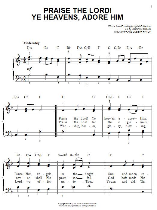 Franz Joseph Haydn Praise The Lord! Ye Heavens, Adore Him sheet music notes and chords